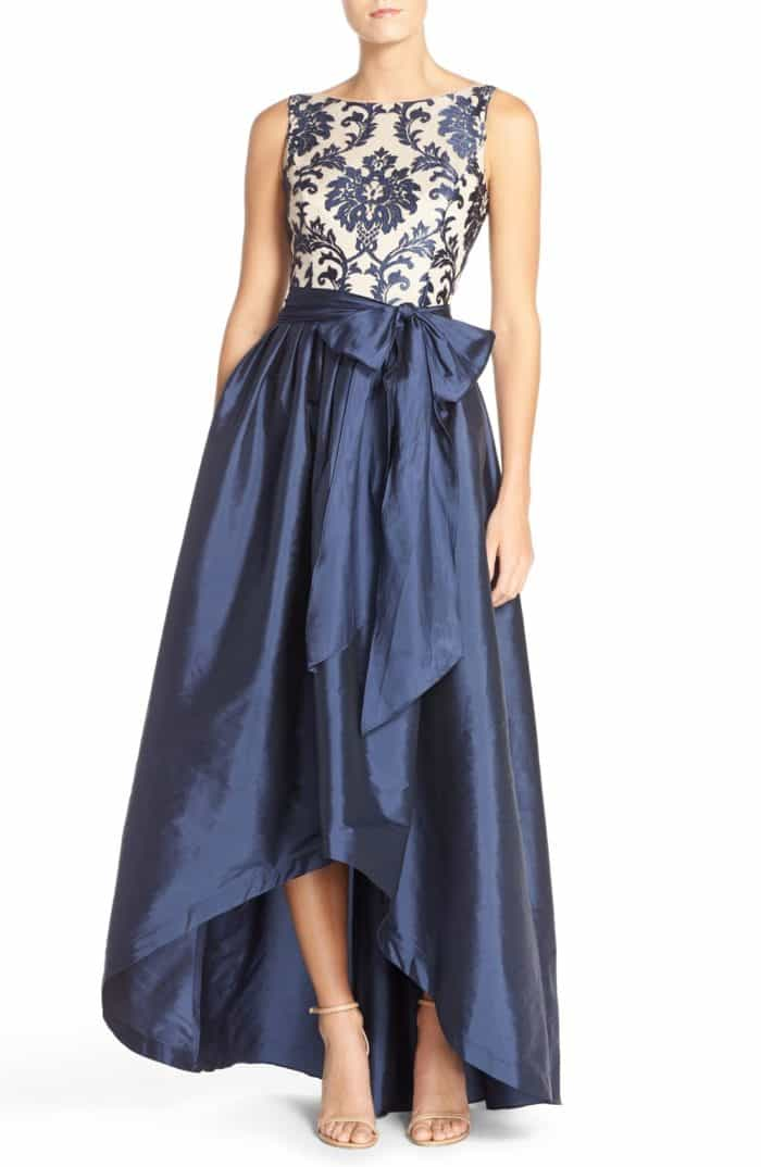 Blue and White Mother of the Bride Hi Low Gown