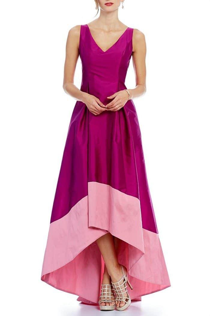 Raspberry MOB Dress with High Low Hem