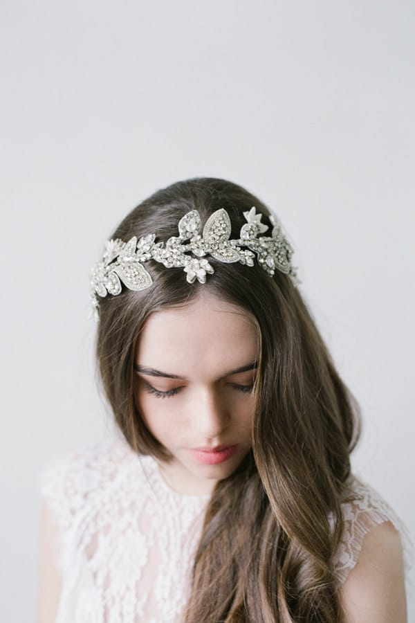 Embellished Bridal Headband in Silver