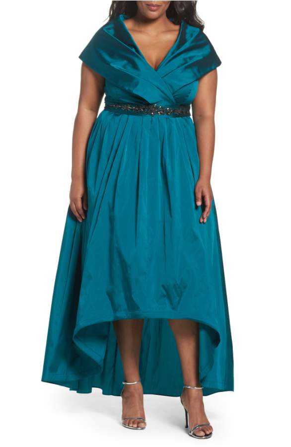 Emerald Green Shawl Collar MOB Gown with Hi Low Hemline