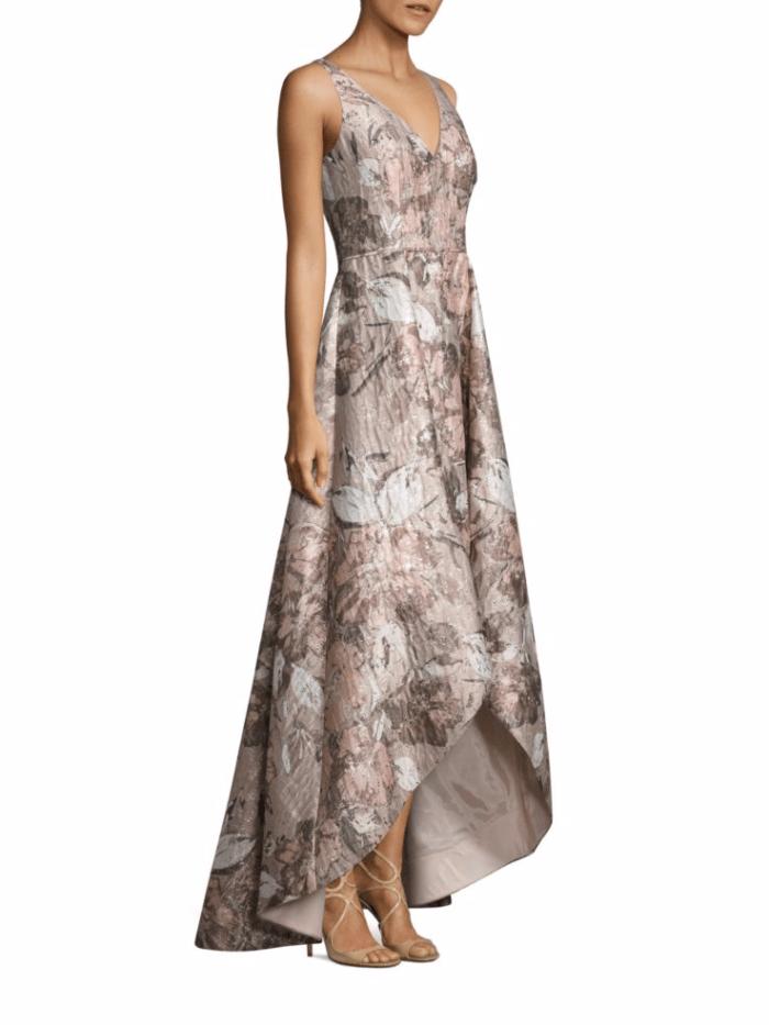 Blush Floral Jacquard Hi Low Gown