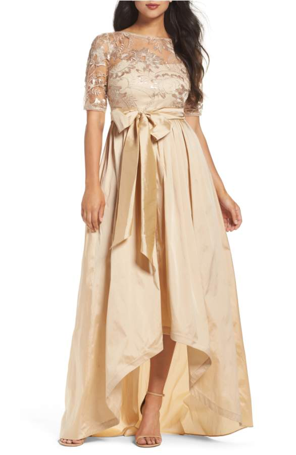 Neutral Gold MOB Gown with High Low Hem