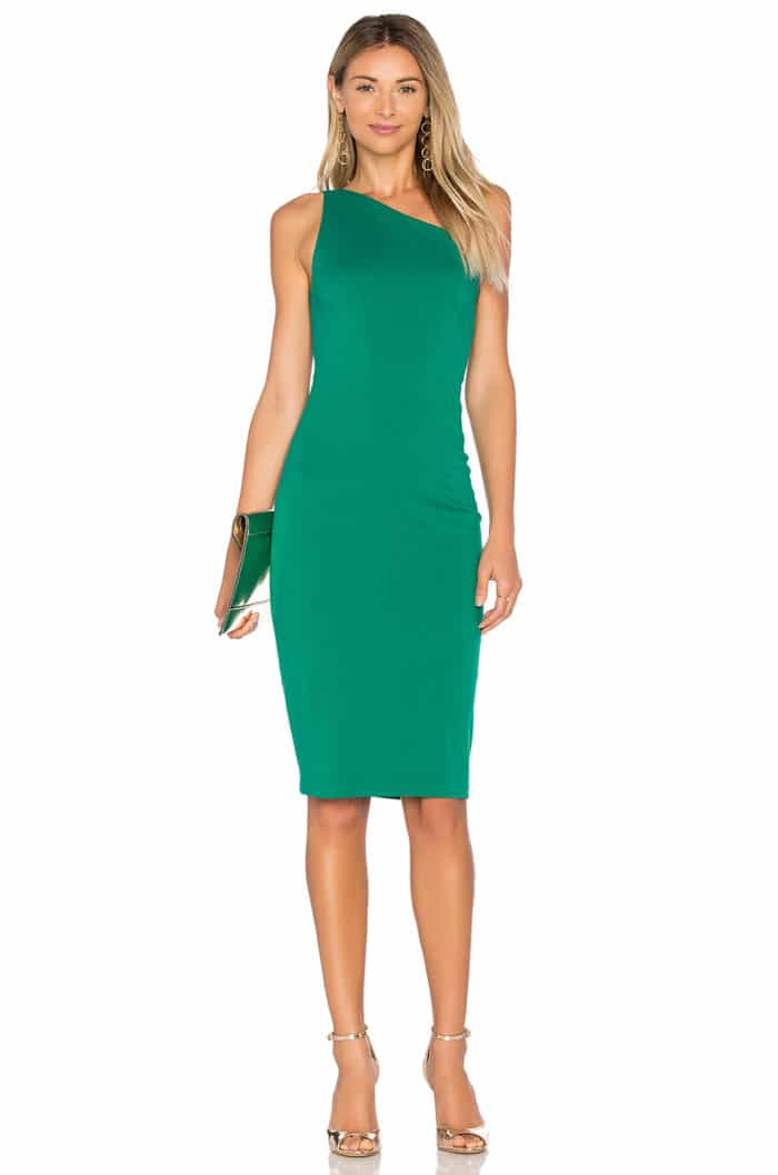 Green One Shoulder Cocktail Dress