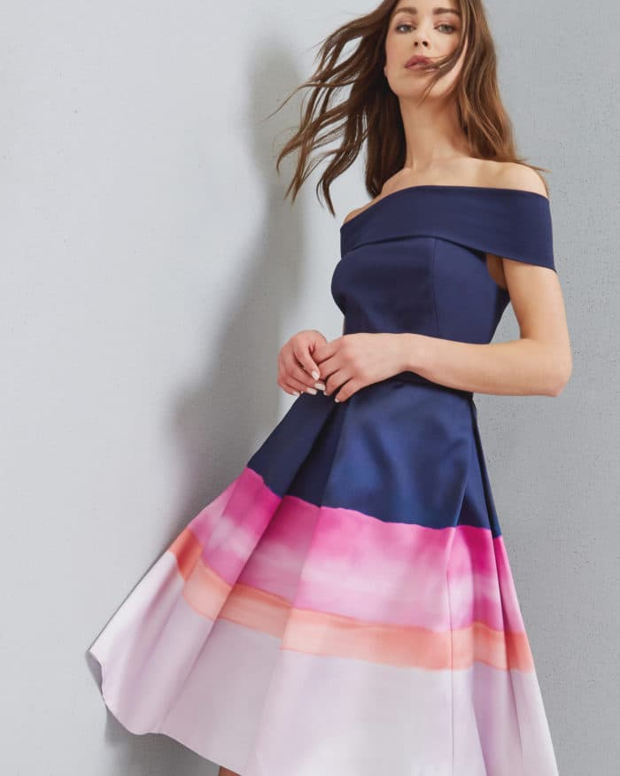 Ombre stripe pink and navy dress