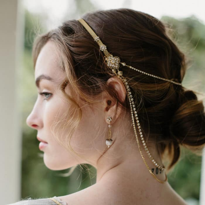 Romantic Bridal Hair Chain and Boho Wedding Updo