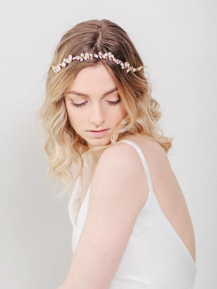 Romantic Wedding Hair with Headband by Davie and Chiyo