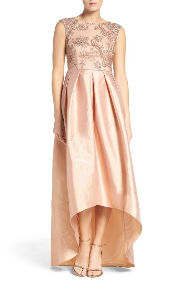 Rose Gold MOB Dress High Low Beaded Gown