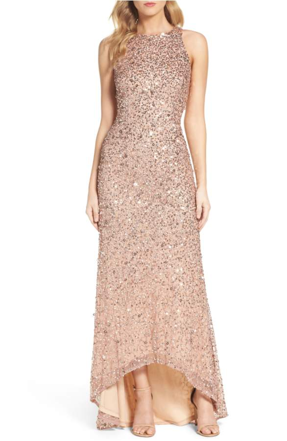Rose Gold Sequin Gown with High Low Hemline