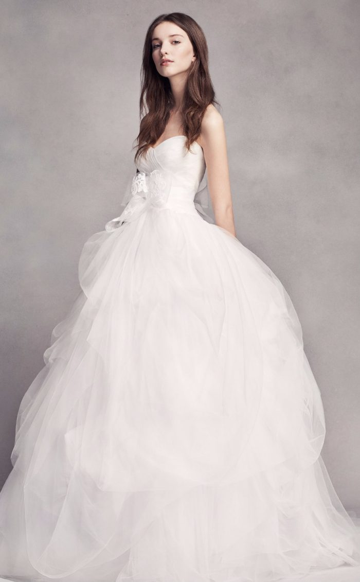 Strapless tulle ballgown wedding dress from white by vera for Tulle halter wedding dress