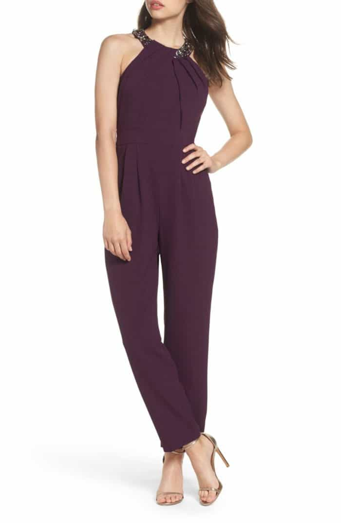 Purple embellished jumpsuit for a wedding guest