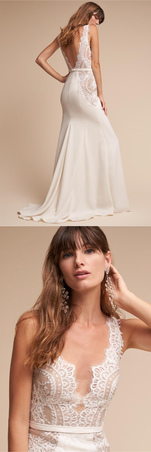 Sexy sheer lace bodice wedding dress
