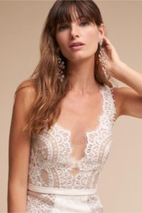 Sheer lace bodice wedding gown