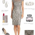 Short Grey Lace Dress for a Wedding Guest or Mother of the Bride