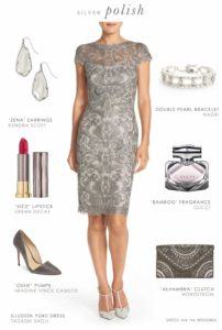 Grey Lace Sheath Dress for a Wedding Guest or Mother of the Bride