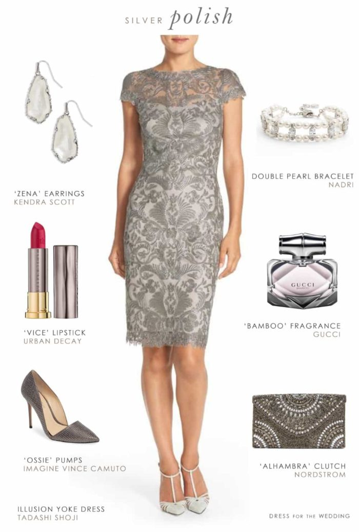 Grey lace sheath dress for a wedding guest or mother of for Wedding guest lace dresses