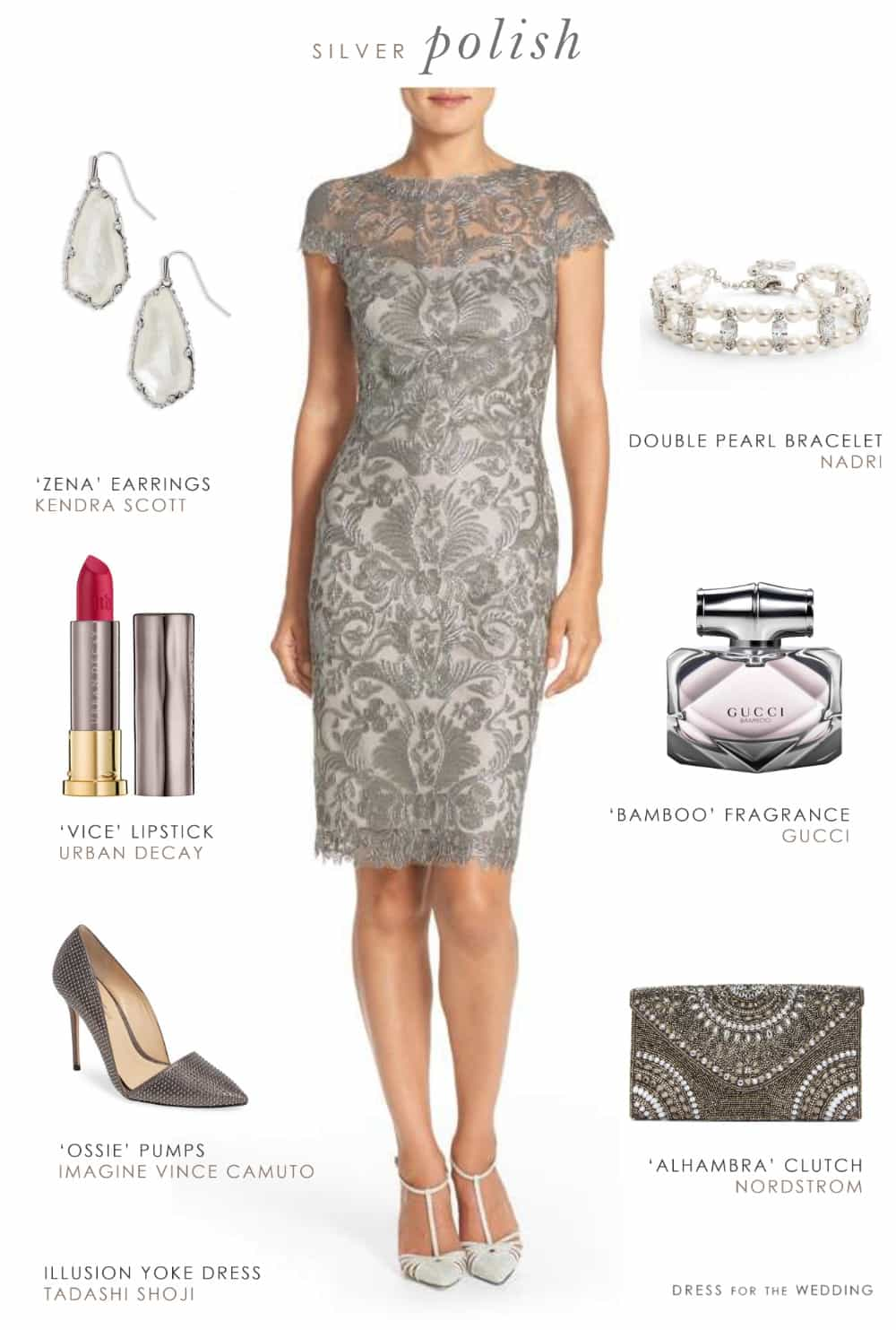Grey lace sheath dress for a wedding guest or mother of for Gray dresses for a wedding