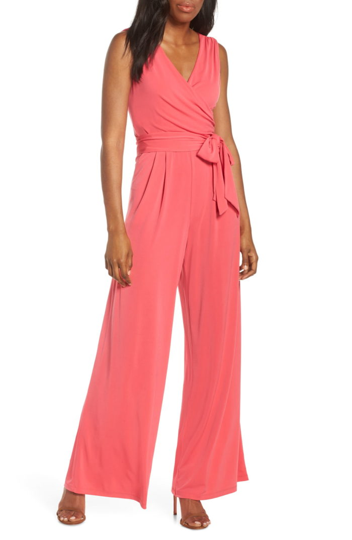 Wrap style coral jumpsuit for a wedding guest