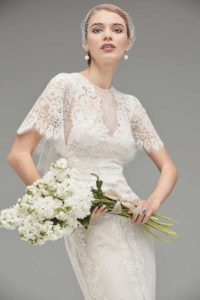 Lace Wedding Dress with Capelet: 'Jael' by Watters