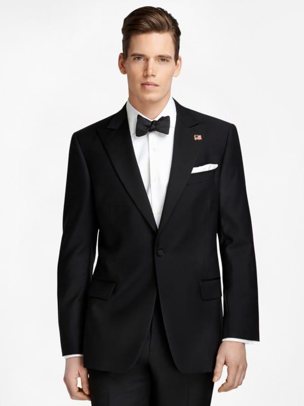 One-Button Peak Lapel Tuxedo for Groom or Groomsmen