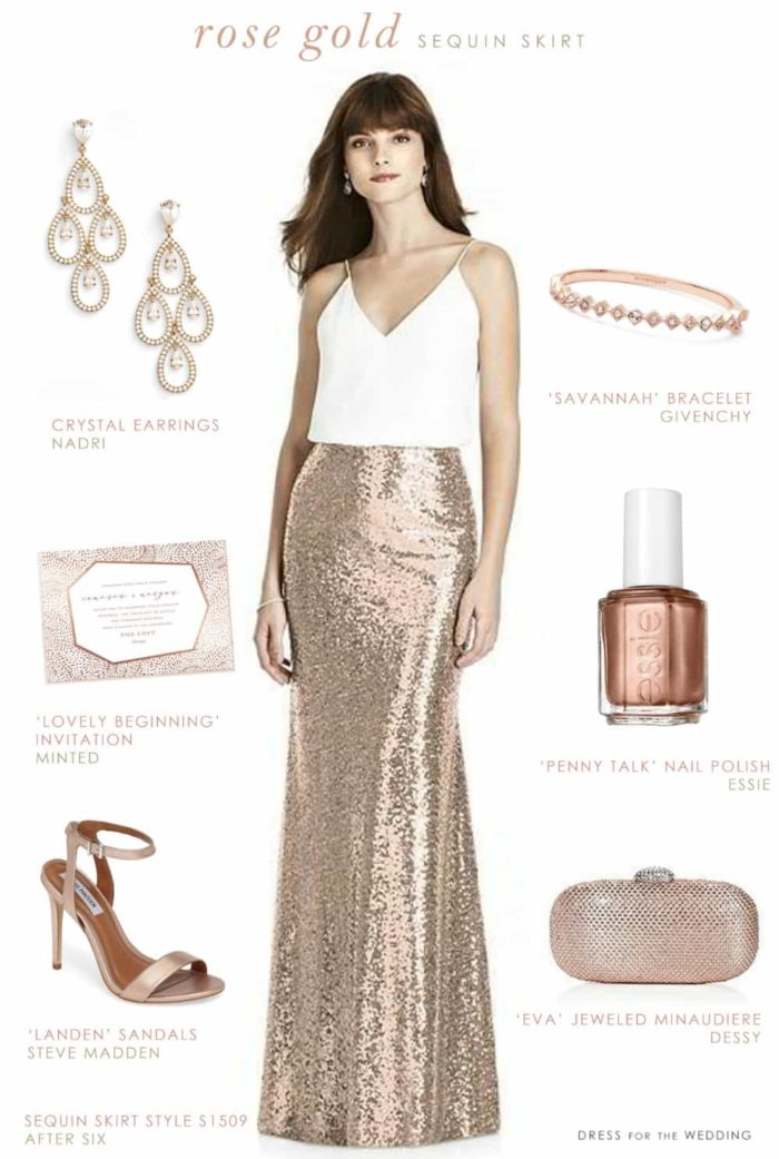 Rose Gold Sequin Skirt For Bridesmaids Dress For The Wedding