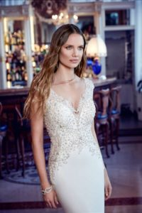 Beaded Cap Sleeve Wedding Dress by Eddy K