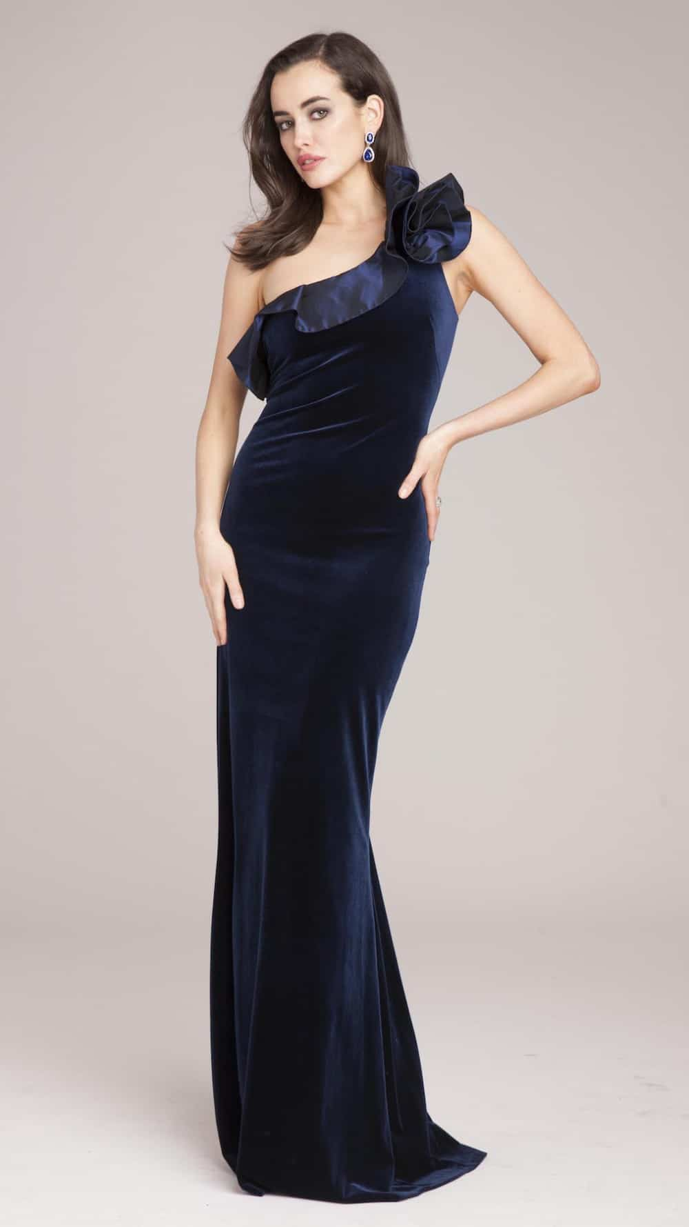 One Shoulder Navy Blue Velvet Gown Dress For The Wedding