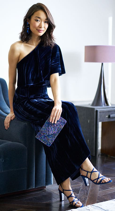 Blue Velvet Gown for a Wedding Guest Gown