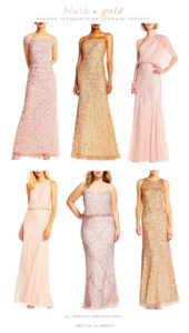 Blush and Gold Mix and Match Bridesmaid Dresses