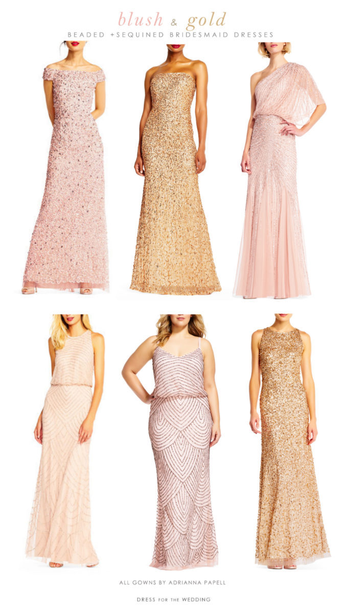 Sequin and Beaded Blush and Gold Mix and Match Bridesmaid Dresses