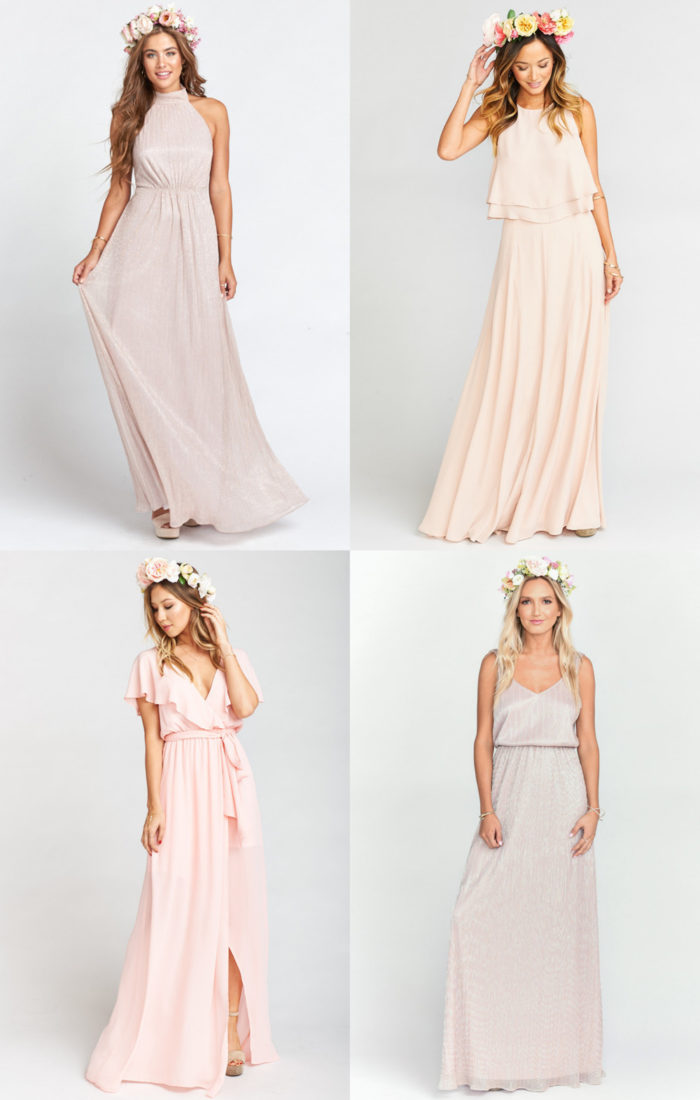 Modern Boho Bridesmaid Dresses in Blush and Gold Metallic
