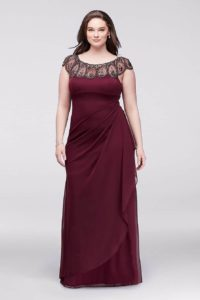 Burgundy Gown with Embellished Neckline - from David's Bridal