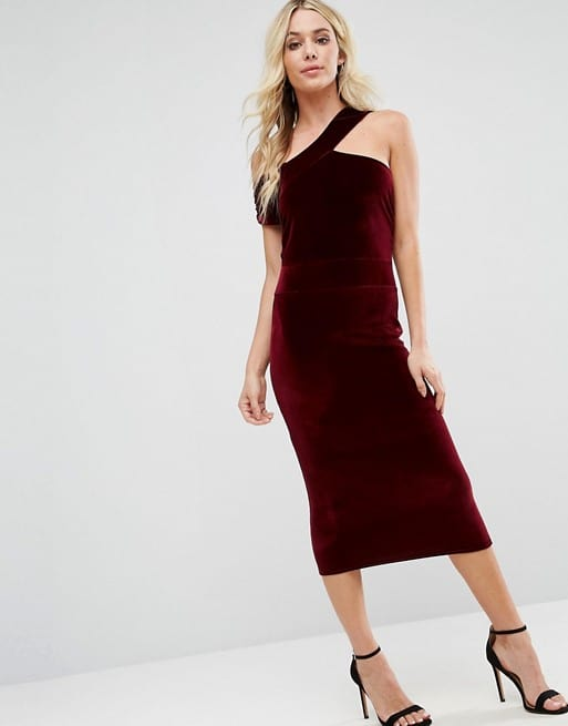 Burgundy Red Velvet Dress