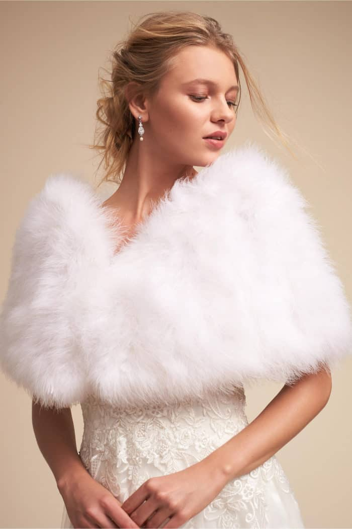 Fluffy faux fur bridal wrap for winter