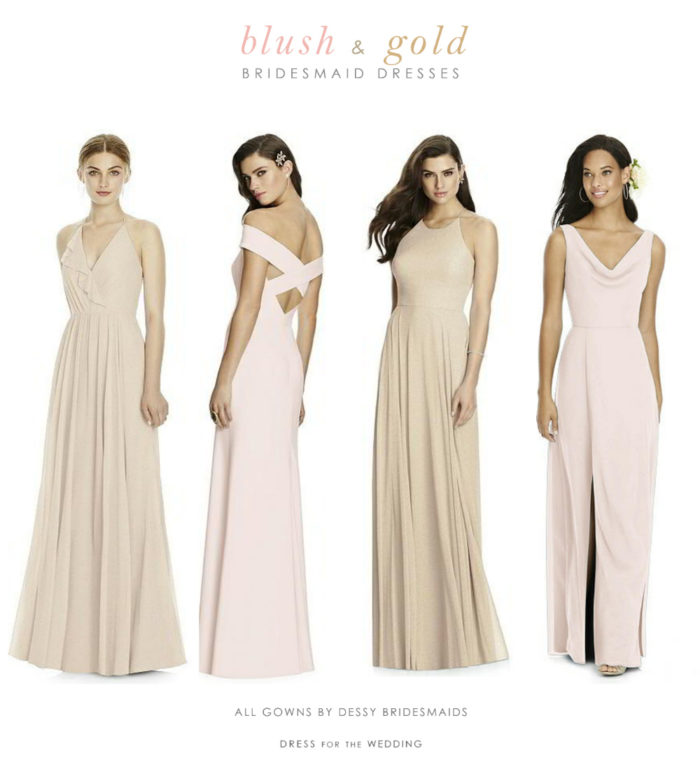 8cd05511210 Blush and Gold Mix and Match Bridesmaid Dresses