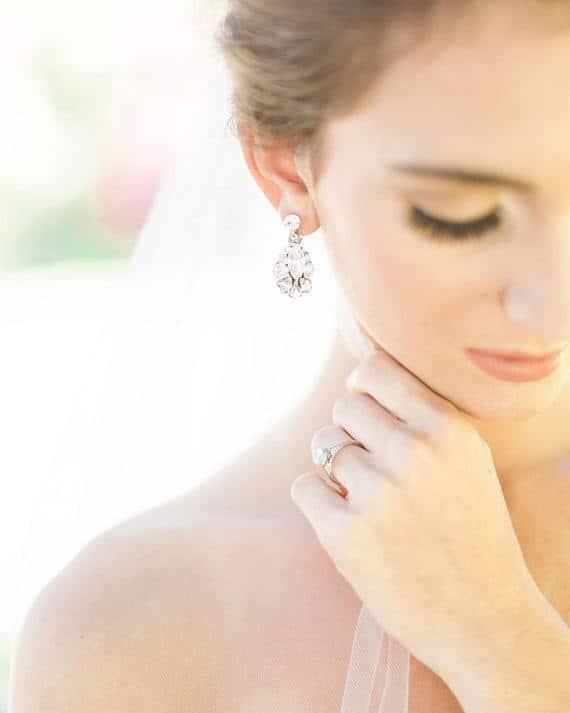 Small Crystal Drop Bridal Earrings