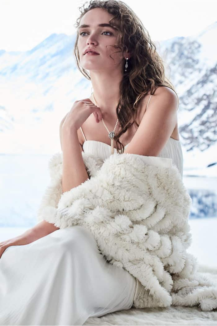 White Faux Fur Shrug for a Wedding