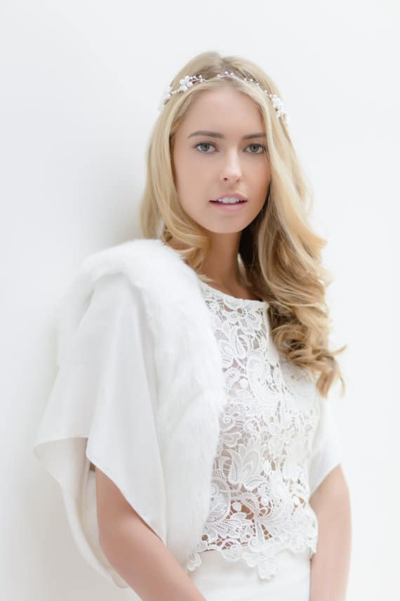 White Faux Fur Trim Bridal Jacket