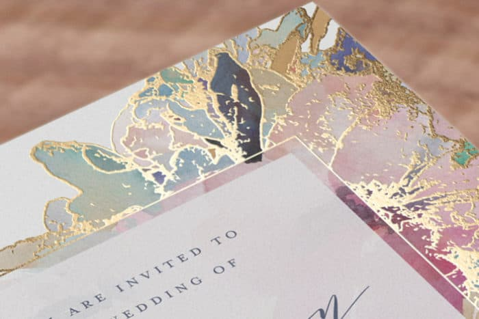 pretty gilded wedding invitations