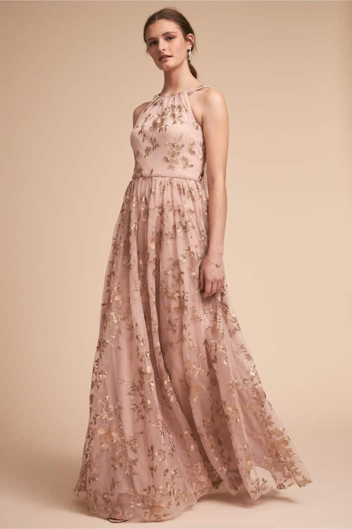 Blush and Gold Embroidered Bridesmaid Dress