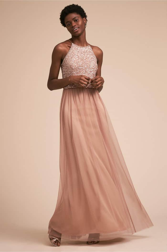 Sequin and Tulle bridesmaid dress in rose gold
