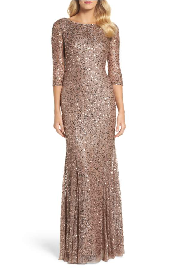 Dark Rose Gold Sequin Gown with Sleeves | Dress for the Wedding