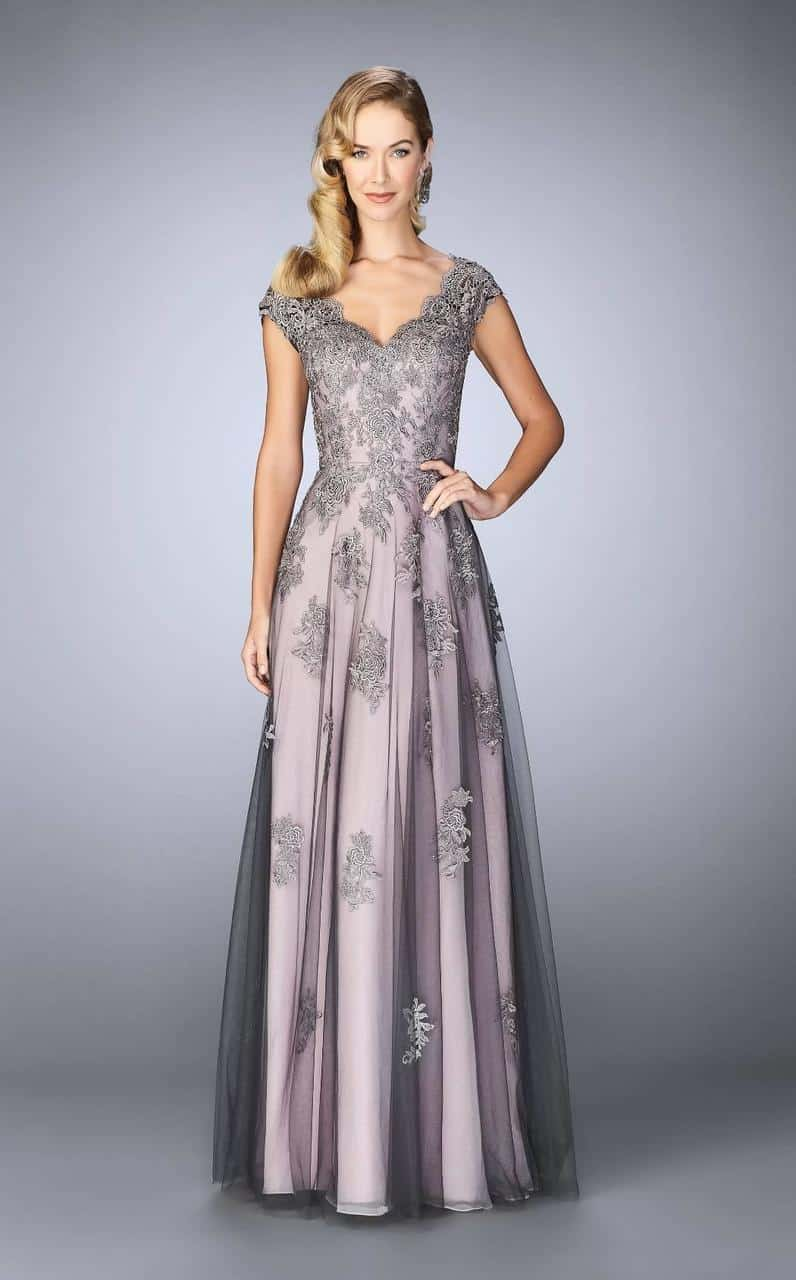 Gray Lace Applique Gown Dress For The Wedding