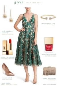 Green lace party dress