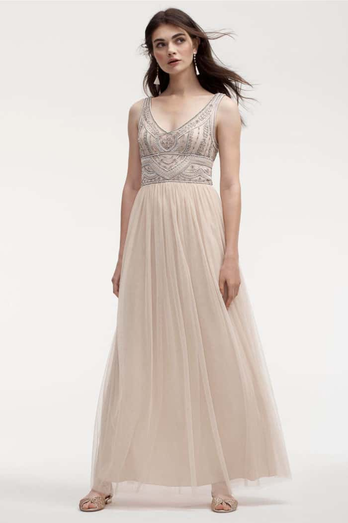 Neutral Beaded Top and Tulle Bridesmaid Dress