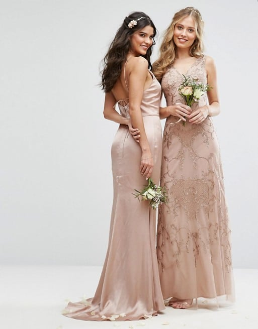 Mismatched Neutral Blush and Embellished Gold Bridesmaid Dresses
