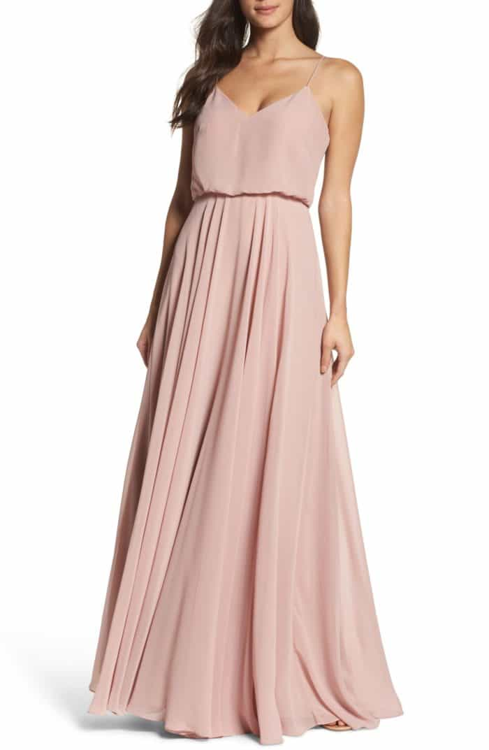 Rose gold chiffon bridesmaid dresses