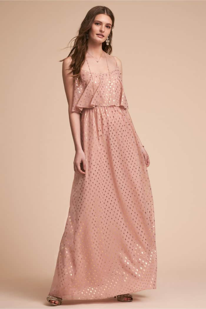 Rose maxi dress with gold dots