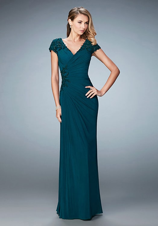 Teal Evening Gown with Short Sleeves | Dress for the Wedding