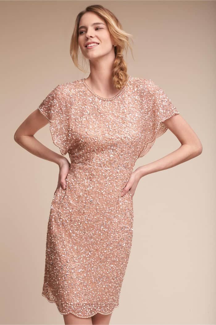 short rose gold sequin dress for bridesmaid or wedding