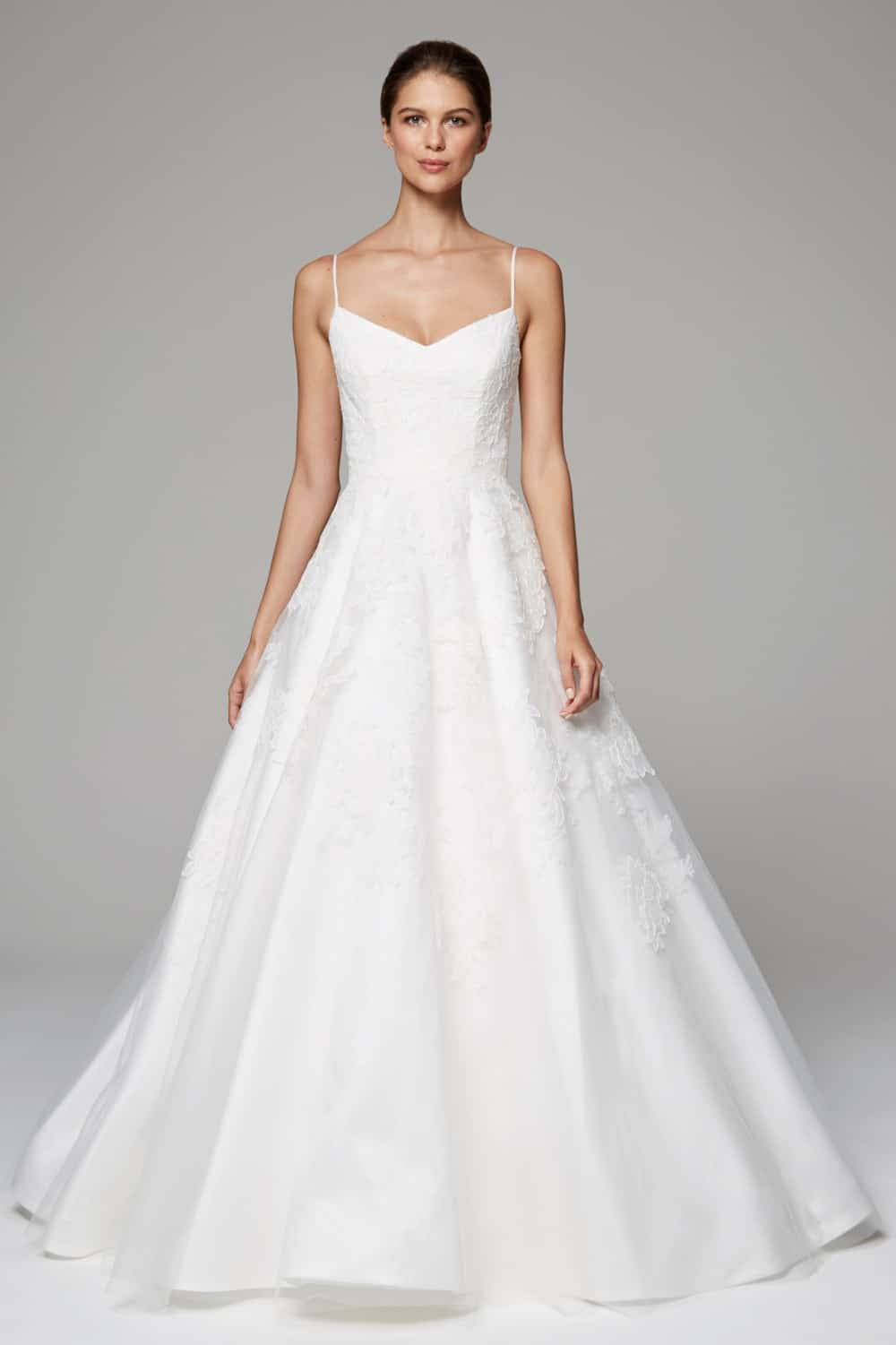 arabella spaghetti strap wedding dress by anne barge